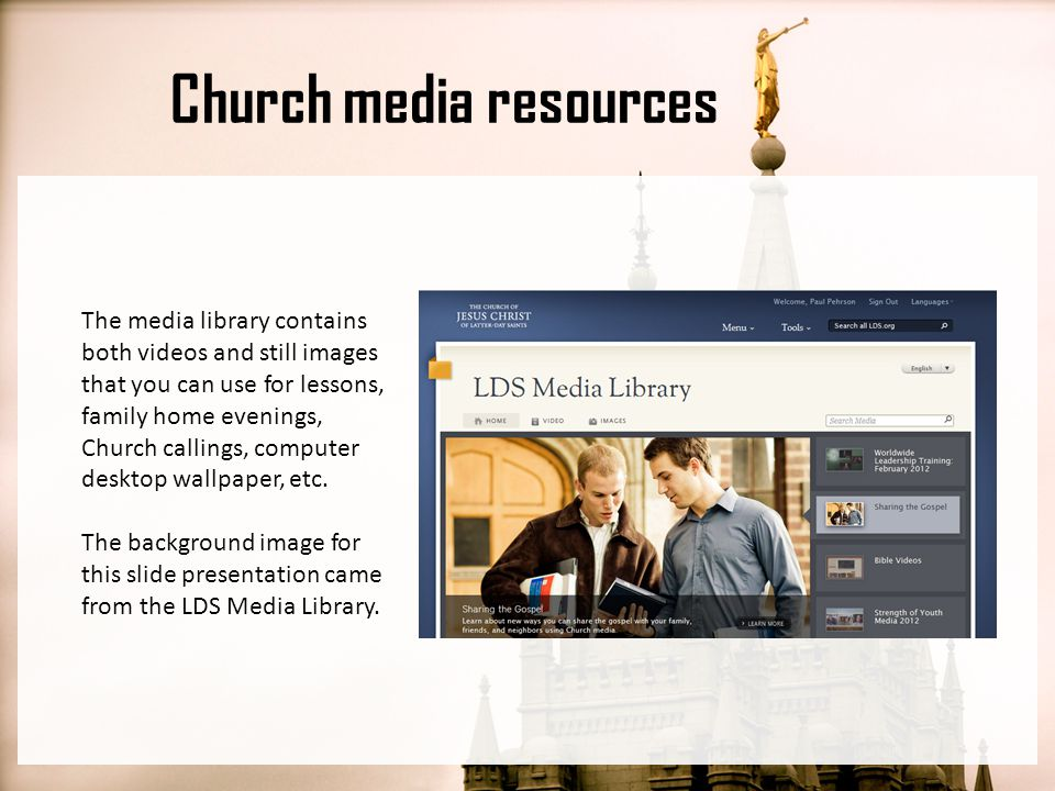 Church media resources The Church has a radio station called Mormon Channel that you can get via HD Radio, the web, or through a mobile app on your smart phone.
