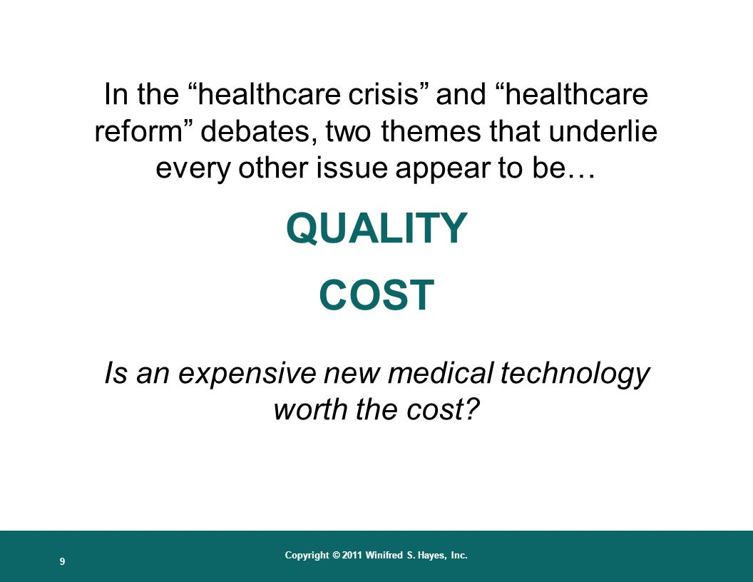 10 Copyright © 2011 Winifred S. Hayes, Inc. Projected U.S. Healthcare Costs Rising Costs