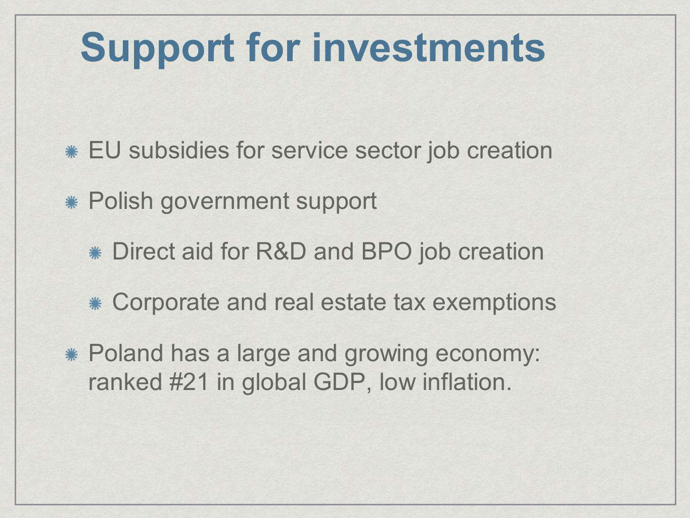 Support for investments EU subsidies for service sector job creation Polish government support Direct aid for R&D and BPO job creation Corporate and r