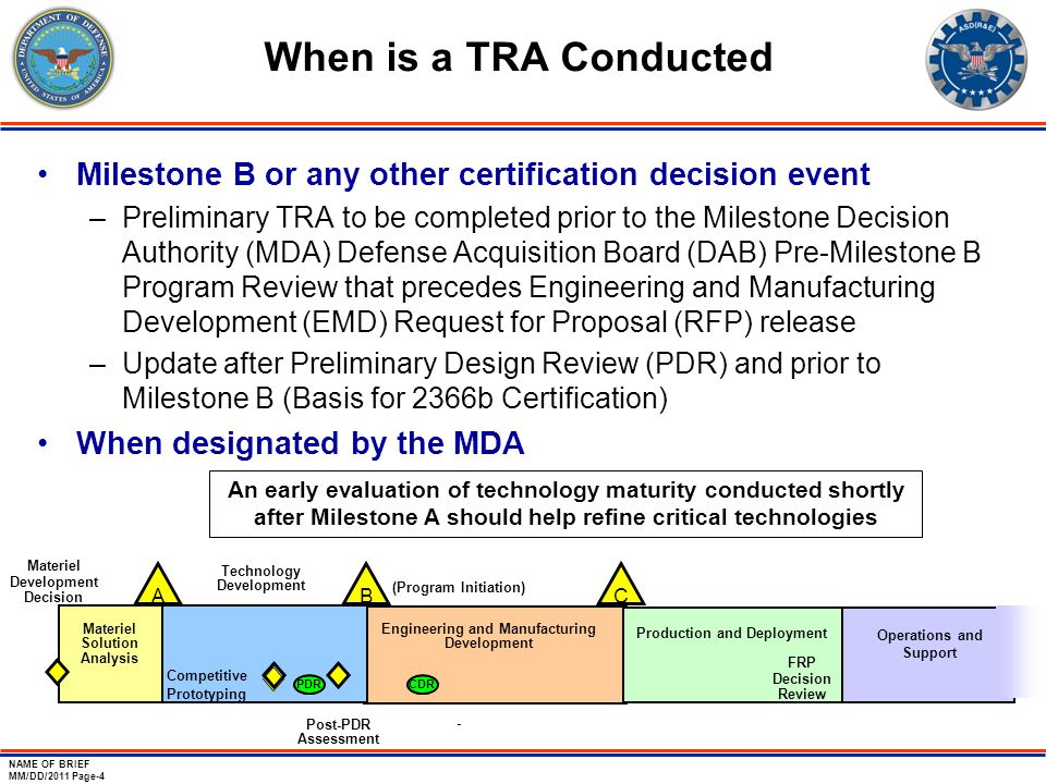 NAME OF BRIEF MM/DD/2011 Page-4 When is a TRA Conducted Milestone B or any other certification decision event –Preliminary TRA to be completed prior t