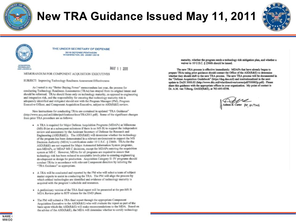 NAME OF BRIEF MM/DD/2011 Page-5 New TRA Guidance Issued May 11, 2011