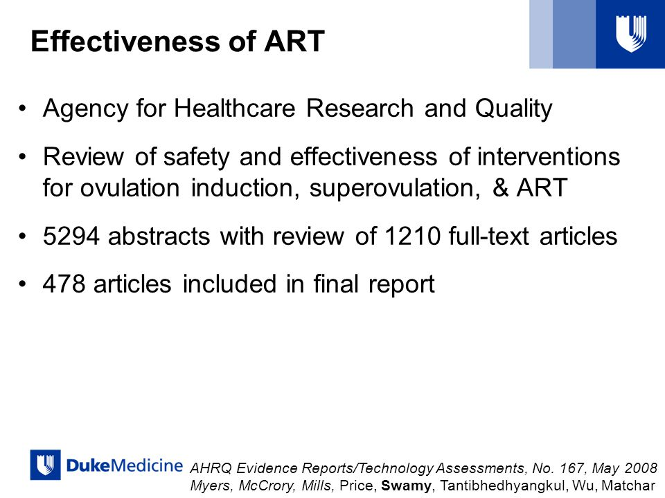 Effectiveness of ART Agency for Healthcare Research and Quality Review of safety and effectiveness of interventions for ovulation induction, superovul