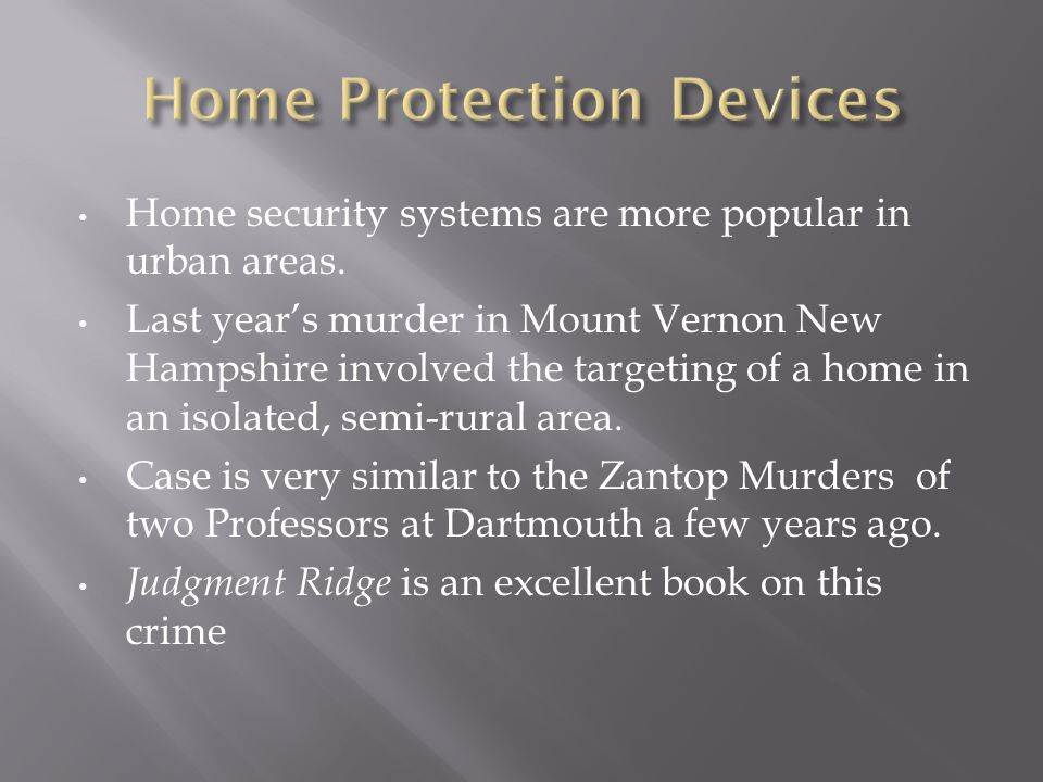 Home security systems are more popular in urban areas.