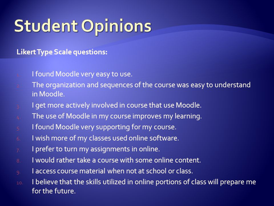 Likert Type Scale questions: 1. I found Moodle very easy to use. 2. The organization and sequences of the course was easy to understand in Moodle. 3.