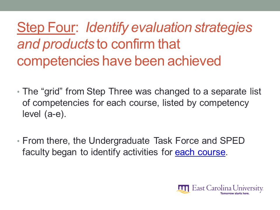Step Four: Identify evaluation strategies and products to confirm that competencies have been achieved The grid from Step Three was changed to a separate list of competencies for each course, listed by competency level (a-e).