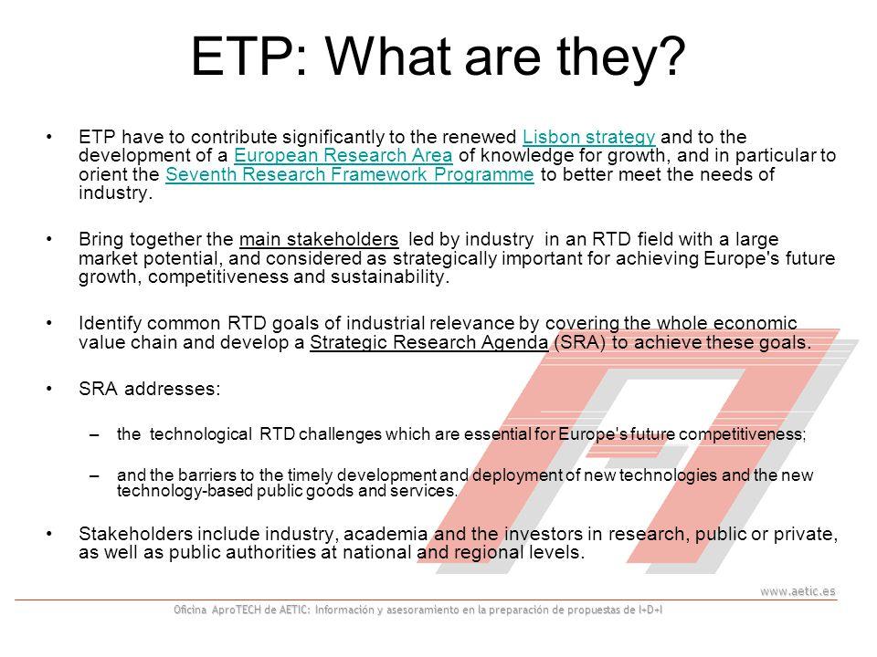 www.aetic.es Oficina AproTECH de AETIC: Información y asesoramiento en la preparación de propuestas de I+D+I ETP: What are they.