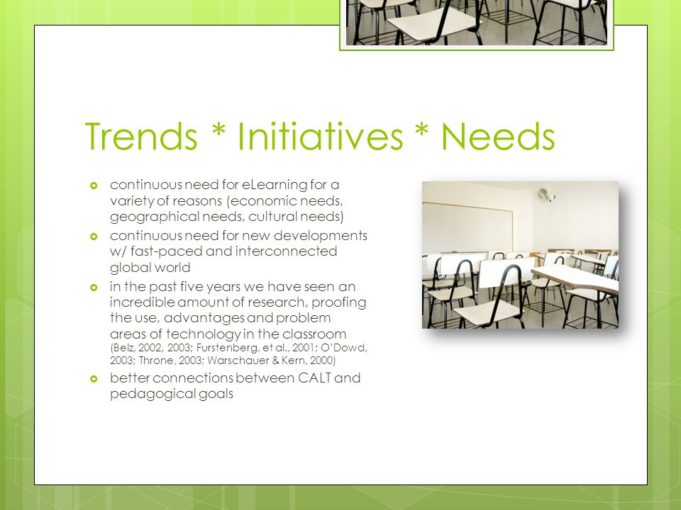 Trends * Initiatives * Needs continuous need for eLearning for a variety of reasons (economic needs, geographical needs, cultural needs) continuous need for new developments w/ fast-paced and interconnected global world in the past five years we have seen an incredible amount of research, proofing the use, advantages and problem areas of technology in the classroom (Belz, 2002, 2003; Furstenberg, et al., 2001; ODowd, 2003; Throne, 2003; Warschauer & Kern, 2000) better connections between CALT and pedagogical goals