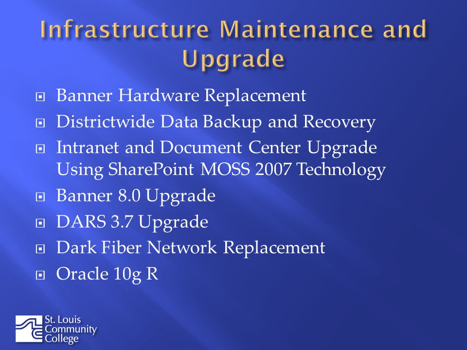 Banner Hardware Replacement Districtwide Data Backup and Recovery Intranet and Document Center Upgrade Using SharePoint MOSS 2007 Technology Banner 8.