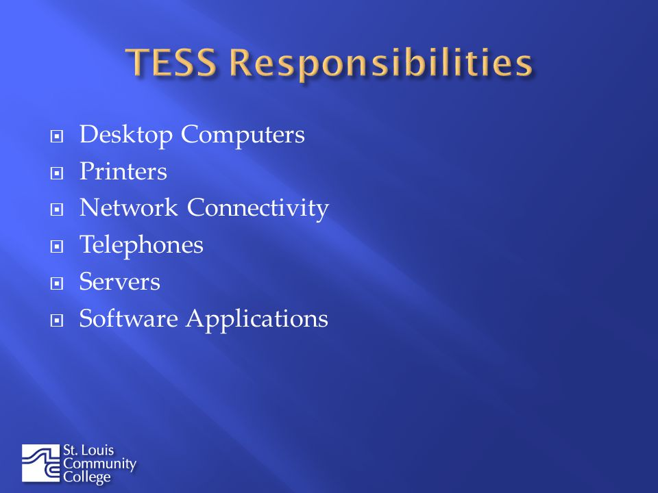 Desktop Computers Printers Network Connectivity Telephones Servers Software Applications