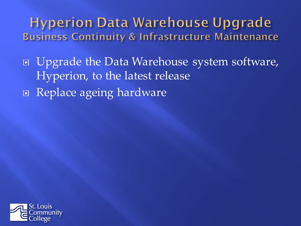 Upgrade the Data Warehouse system software, Hyperion, to the latest release Replace ageing hardware