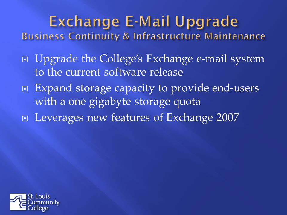 Upgrade the Colleges Exchange  system to the current software release Expand storage capacity to provide end-users with a one gigabyte storage quota Leverages new features of Exchange 2007