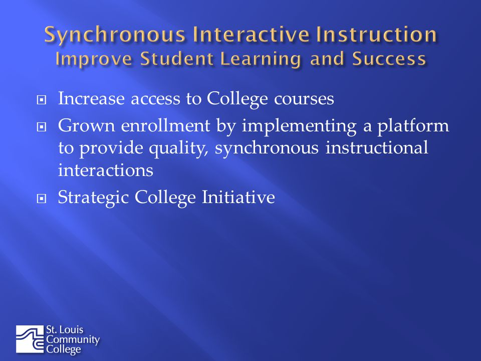 Increase access to College courses Grown enrollment by implementing a platform to provide quality, synchronous instructional interactions Strategic Co