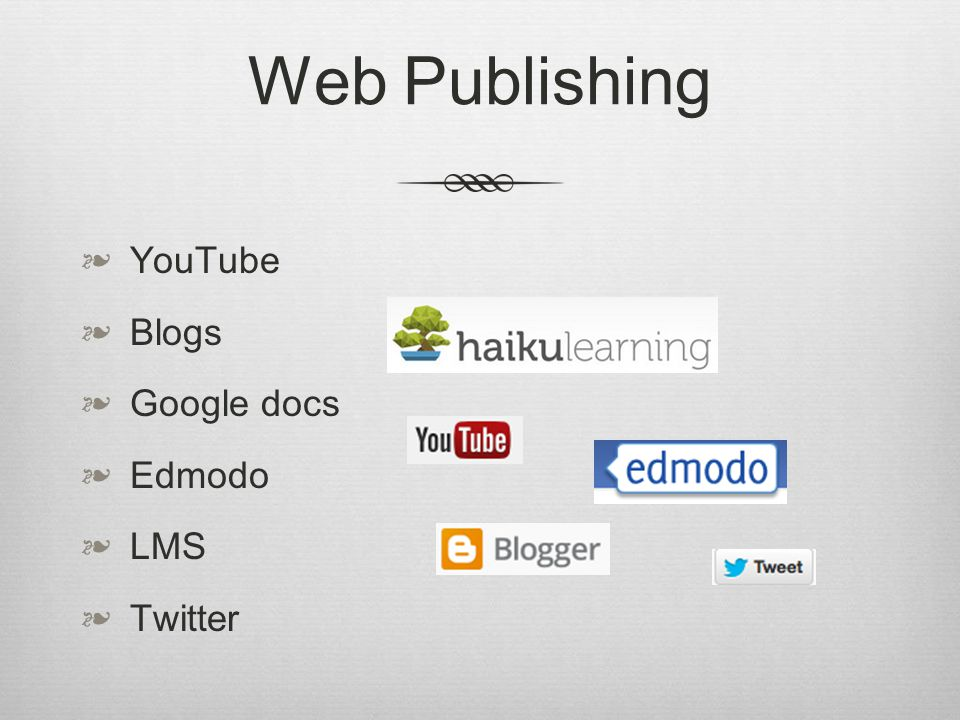Web Publishing YouTube Blogs Google docs Edmodo LMS Twitter