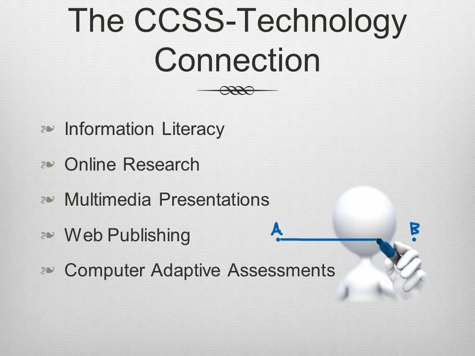 The CCSS-Technology Connection Information Literacy Online Research Multimedia Presentations Web Publishing Computer Adaptive Assessments