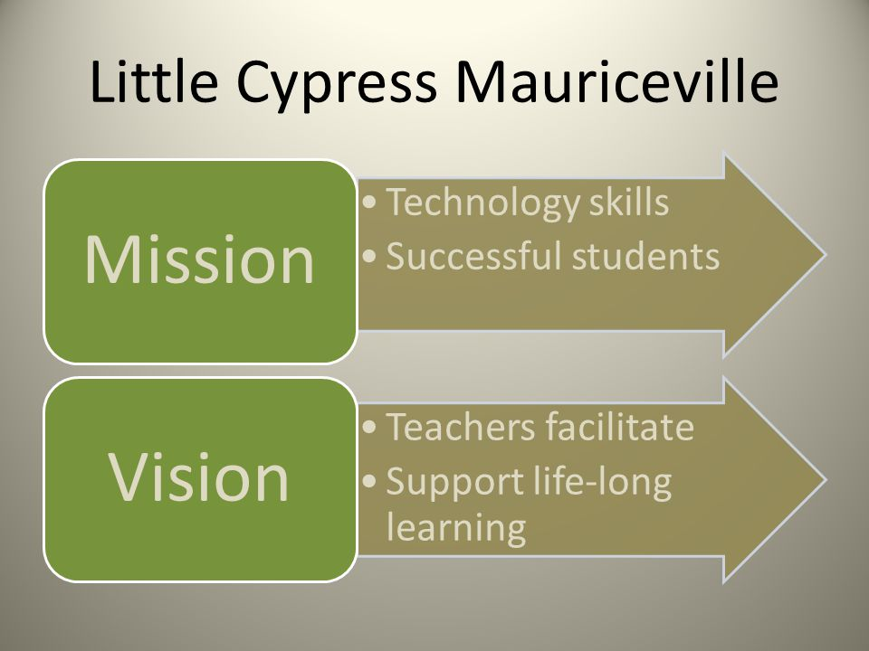 Little Cypress Mauriceville Technology skills Successful students Mission Teachers facilitate Support life-long learning Vision