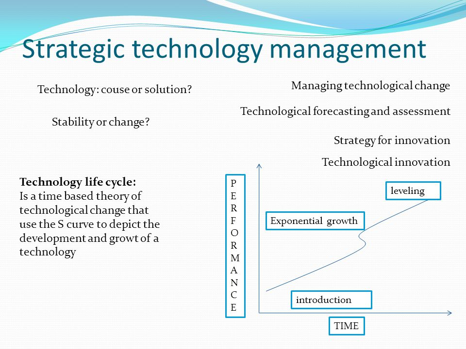 Strategic technology management Managing technological change Technological forecasting and assessment Strategy for innovation Technological innovation Technology: couse or solution.