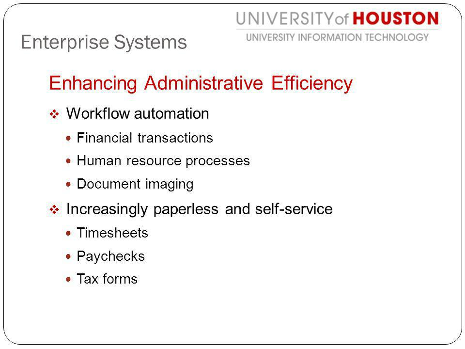Enhancing Administrative Efficiency Workflow automation Financial transactions Human resource processes Document imaging Increasingly paperless and se