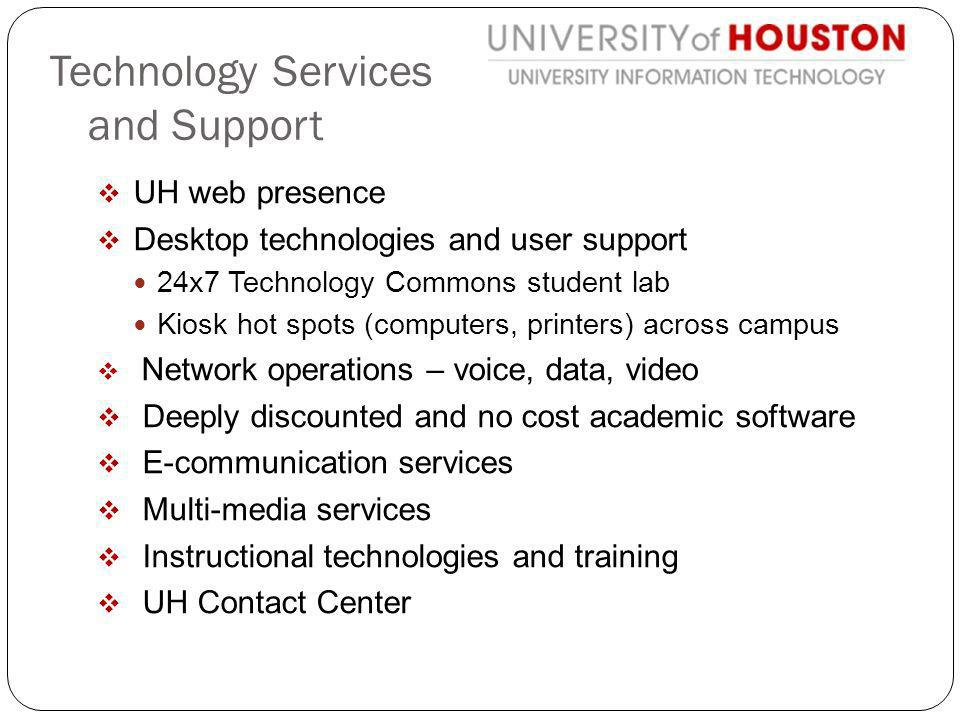 UH web presence Desktop technologies and user support 24x7 Technology Commons student lab Kiosk hot spots (computers, printers) across campus Network operations – voice, data, video Deeply discounted and no cost academic software E-communication services Multi-media services Instructional technologies and training UH Contact Center Technology Services and Support