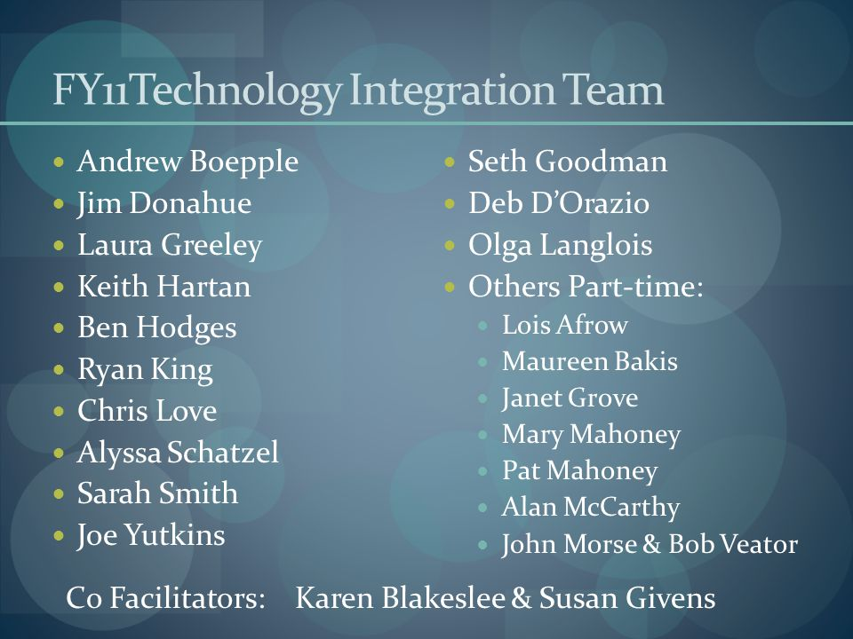 FY11Technology Integration Team Andrew Boepple Jim Donahue Laura Greeley Keith Hartan Ben Hodges Ryan King Chris Love Alyssa Schatzel Sarah Smith Joe
