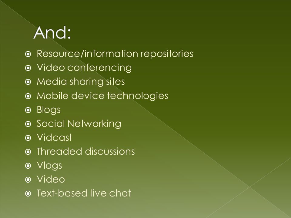 Resource/information repositories Video conferencing Media sharing sites Mobile device technologies Blogs Social Networking Vidcast Threaded discussions Vlogs Video Text-based live chat