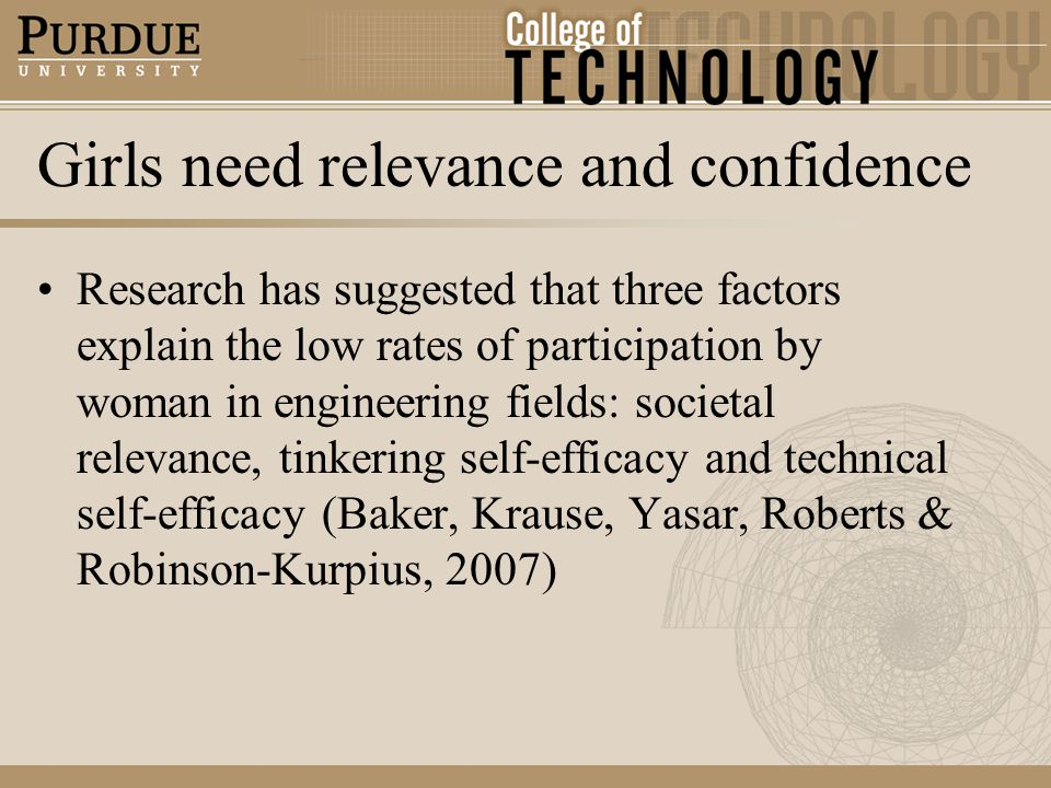 Girls need relevance and confidence Research has suggested that three factors explain the low rates of participation by woman in engineering fields: societal relevance, tinkering self-efficacy and technical self-efficacy (Baker, Krause, Yasar, Roberts & Robinson-Kurpius, 2007)