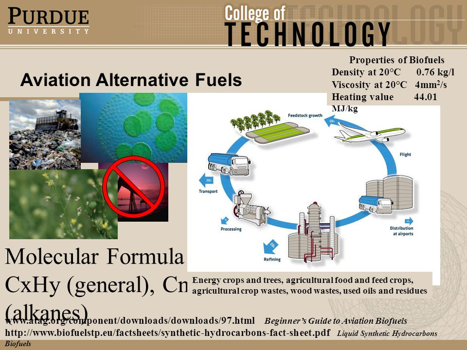 Aviation Alternative Fuels www.atag.org/component/downloads/downloads/97.html Beginners Guide to Aviation Biofuels http://www.biofuelstp.eu/factsheets/synthetic-hydrocarbons-fact-sheet.pdf Liquid Synthetic Hydrocarbons Biofuels Molecular Formula CxHy (general), CnH2n + 2 (alkanes) Properties of Biofuels Density at 20°C 0.76 kg/l Viscosity at 20°C 4mm 2 /s Heating value 44.01 MJ/kg Energy crops and trees, agricultural food and feed crops, agricultural crop wastes, wood wastes, used oils and residues