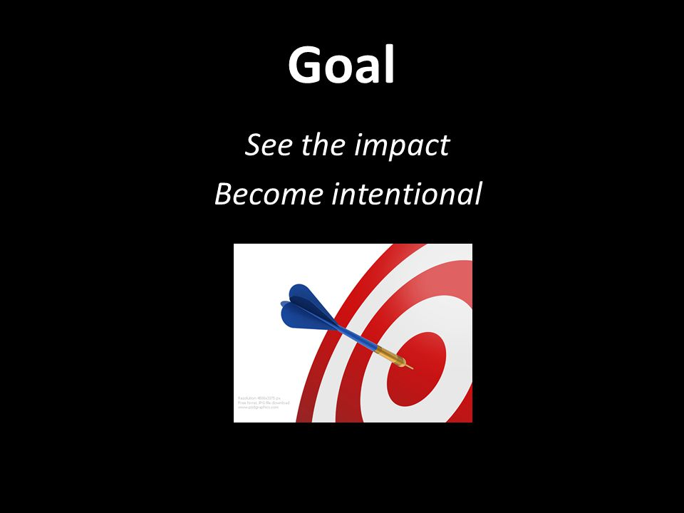 Goal See the impact Become intentional