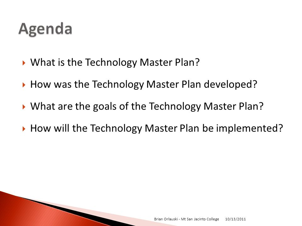 What is the Technology Master Plan. How was the Technology Master Plan developed.
