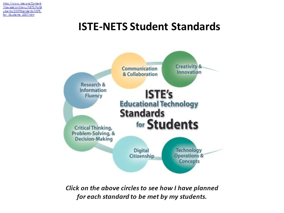 ISTE-NETS Student Standards http://www.iste.org/Content /NavigationMenu/NETS/ForSt udents/2007Standards/NETS_ for_Students_2007.htm Click on the above