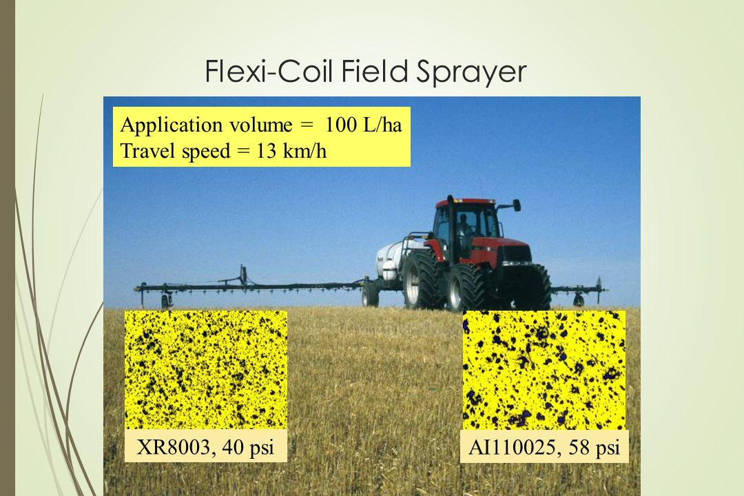 Flexi-Coil Field Sprayer XR8003, 40 psi AI110025, 58 psi Application volume = 100 L/ha Travel speed = 13 km/h