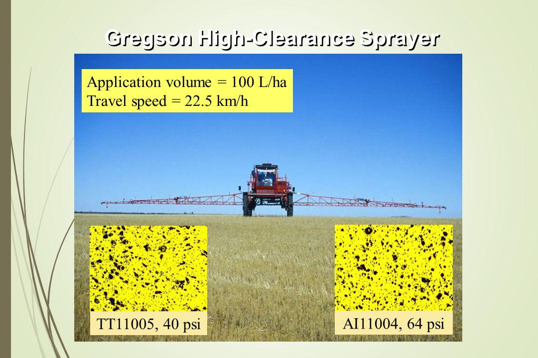 TT11005, 40 psi AI11004, 64 psi Gregson High-Clearance Sprayer Application volume = 100 L/ha Travel speed = 22.5 km/h