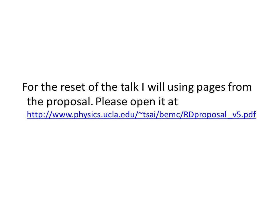For the reset of the talk I will using pages from the proposal.