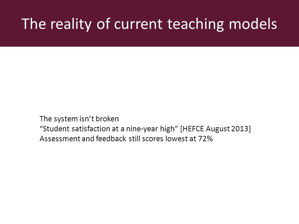 The reality of current teaching models The system isnt broken Student satisfaction at a nine-year high [HEFCE August 2013] Assessment and feedback still scores lowest at 72%