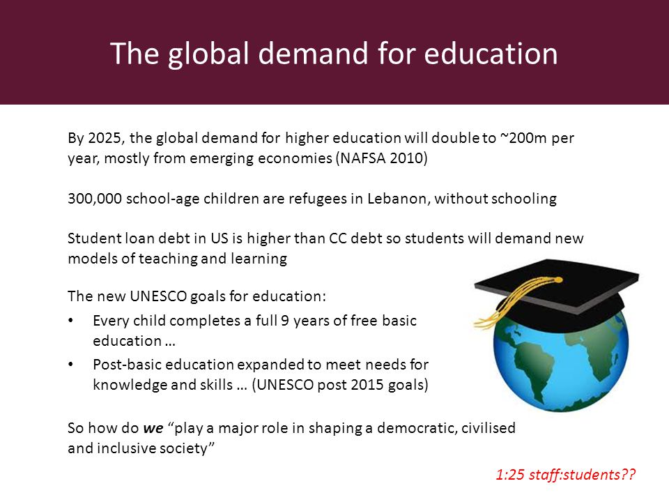 The global demand for education The new UNESCO goals for education: Every child completes a full 9 years of free basic education … Post-basic education expanded to meet needs for knowledge and skills … (UNESCO post 2015 goals) By 2025, the global demand for higher education will double to ~200m per year, mostly from emerging economies (NAFSA 2010) 300,000 school-age children are refugees in Lebanon, without schooling Student loan debt in US is higher than CC debt so students will demand new models of teaching and learning So how do we play a major role in shaping a democratic, civilised and inclusive society 1:25 staff:students