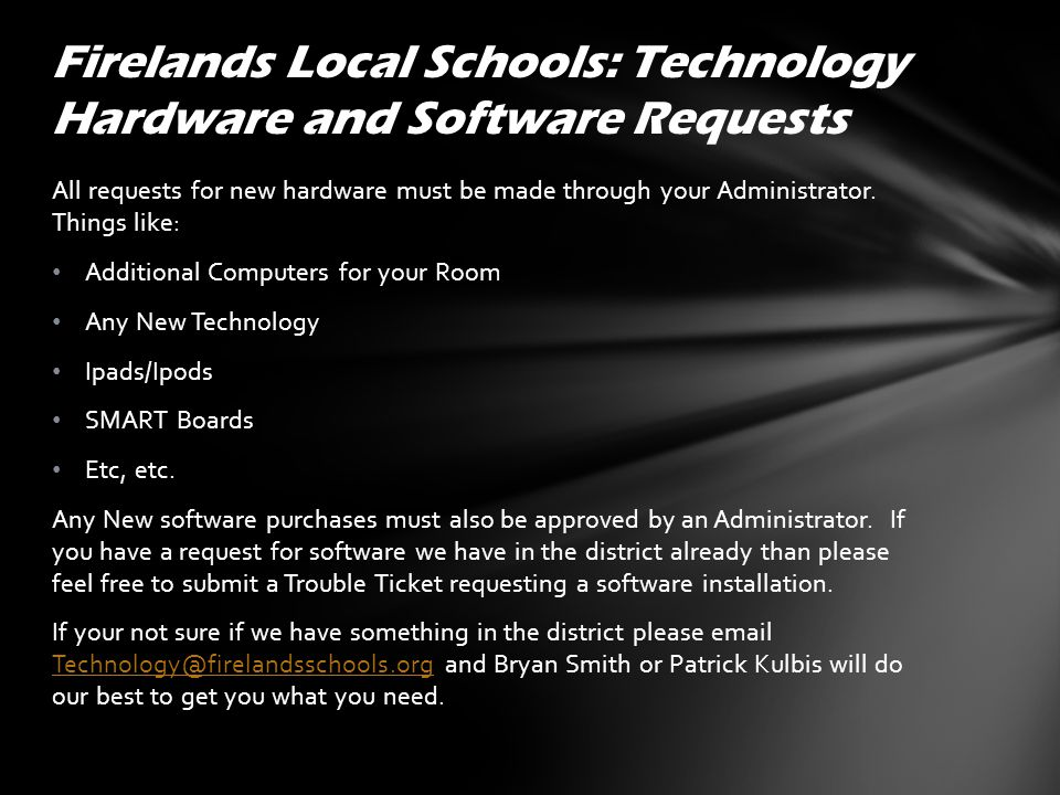 Firelands also offers Microsoft Home Office Licenses at a discounted price for more information please email technology@firelandsschools.org.technology@firelandsschools.org Please Speak with your administrator about creating your Personal Class Web Page VPN Access Desktop Phase Out Some other important Links: Firelands Schools Home Page Firelands Staff Links Firelands Technology FAQs and Tutorials (you can find this Power Point Here) Firelands Technology FAQs and Tutorials Firelands Local Schools