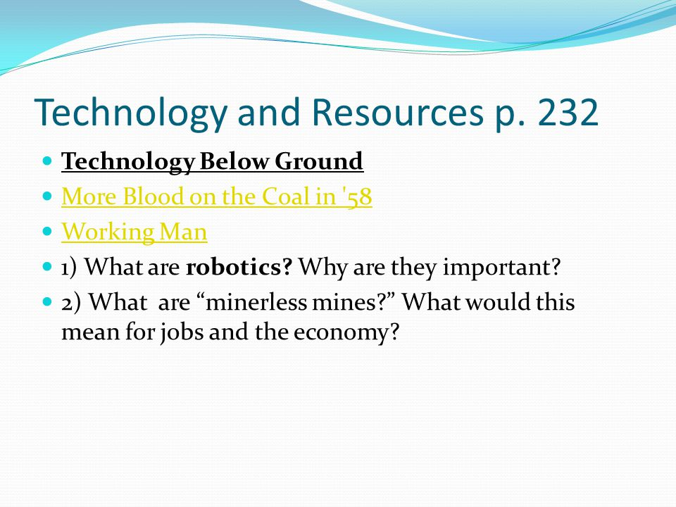 Technology and Resources p.