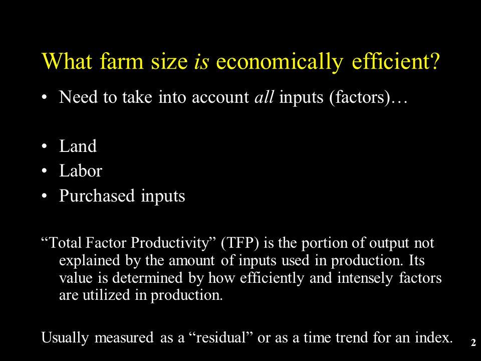2 What farm size is economically efficient.