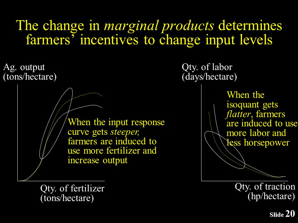 Slide 20 The change in marginal products determines farmers incentives to change input levels Ag.