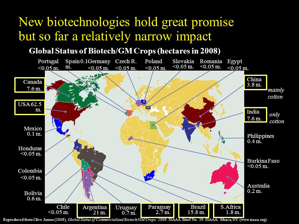Reproduced from Clive James (2008), Global Status of Commercialized Biotech/GM Crops: 2008.