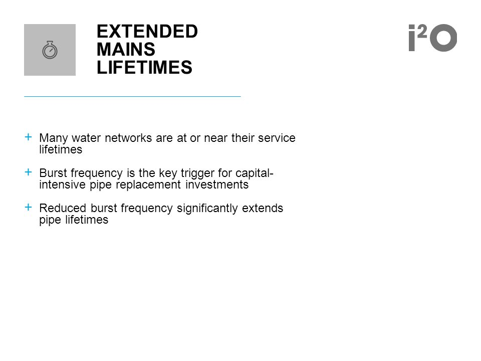 EXTENDED MAINS LIFETIMES + Many water networks are at or near their service lifetimes + Burst frequency is the key trigger for capital- intensive pipe replacement investments + Reduced burst frequency significantly extends pipe lifetimes