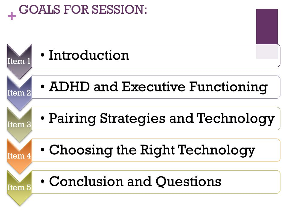 + GOALS FOR SESSION: Item 1 Introduction Item 2 ADHD and Executive Functioning Item 3 Pairing Strategies and Technology Item 4 Choosing the Right Technology Item 5 Conclusion and Questions