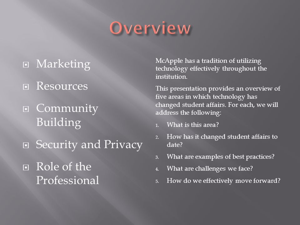 Marketing Resources Community Building Security and Privacy Role of the Professional McApple has a tradition of utilizing technology effectively throughout the institution.