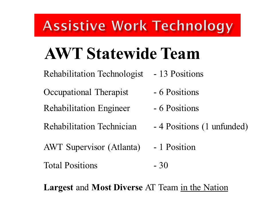 Assistive Work Technology Rehabilitation Technologist - One in each region Occupational Therapist Rehabilitation Engineer Rehabilitation Technician - Bi/Tri Regional