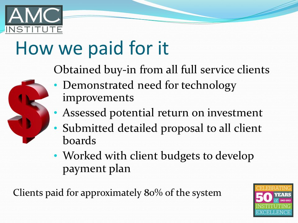 How we paid for it Obtained buy-in from all full service clients Demonstrated need for technology improvements Assessed potential return on investment