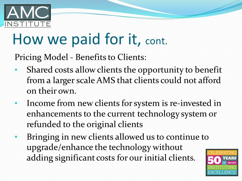 How we paid for it, cont.