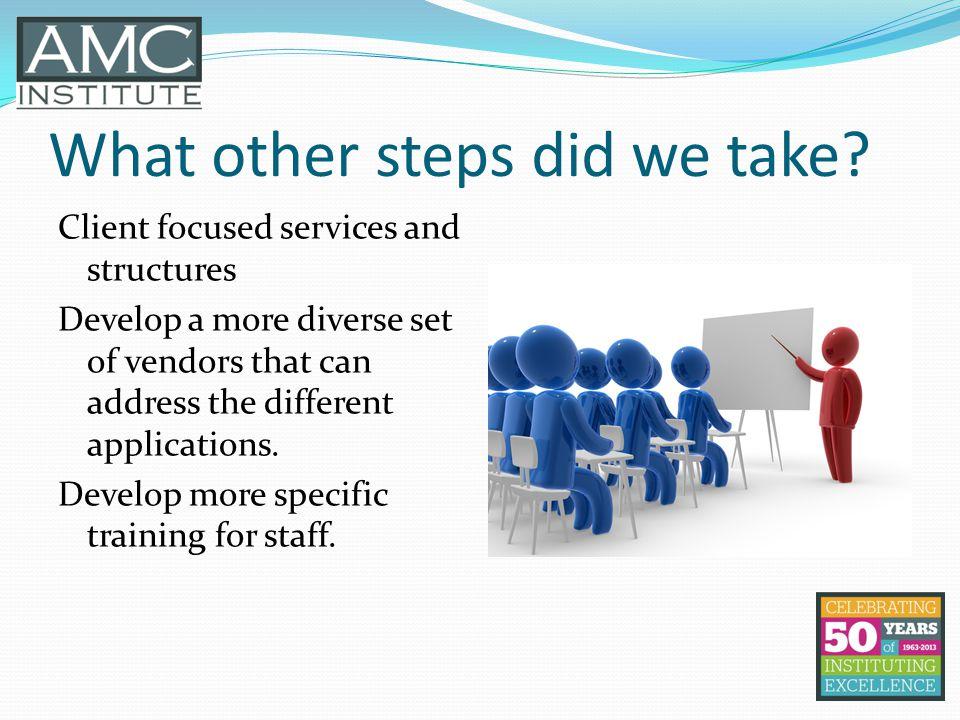 What other steps did we take? Client focused services and structures Develop a more diverse set of vendors that can address the different applications
