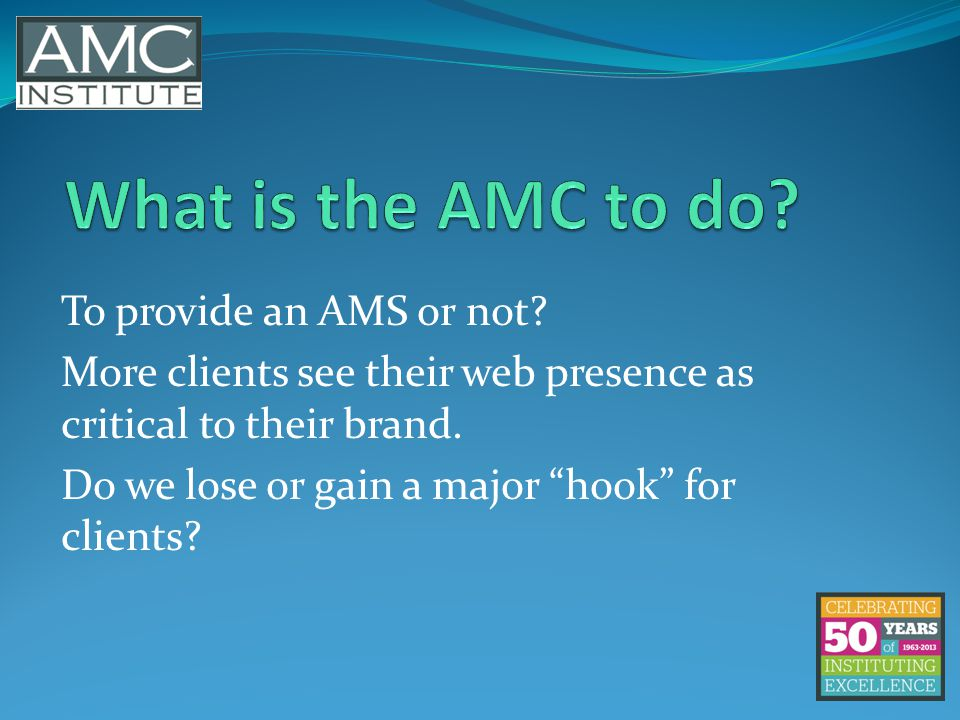To provide an AMS or not. More clients see their web presence as critical to their brand.