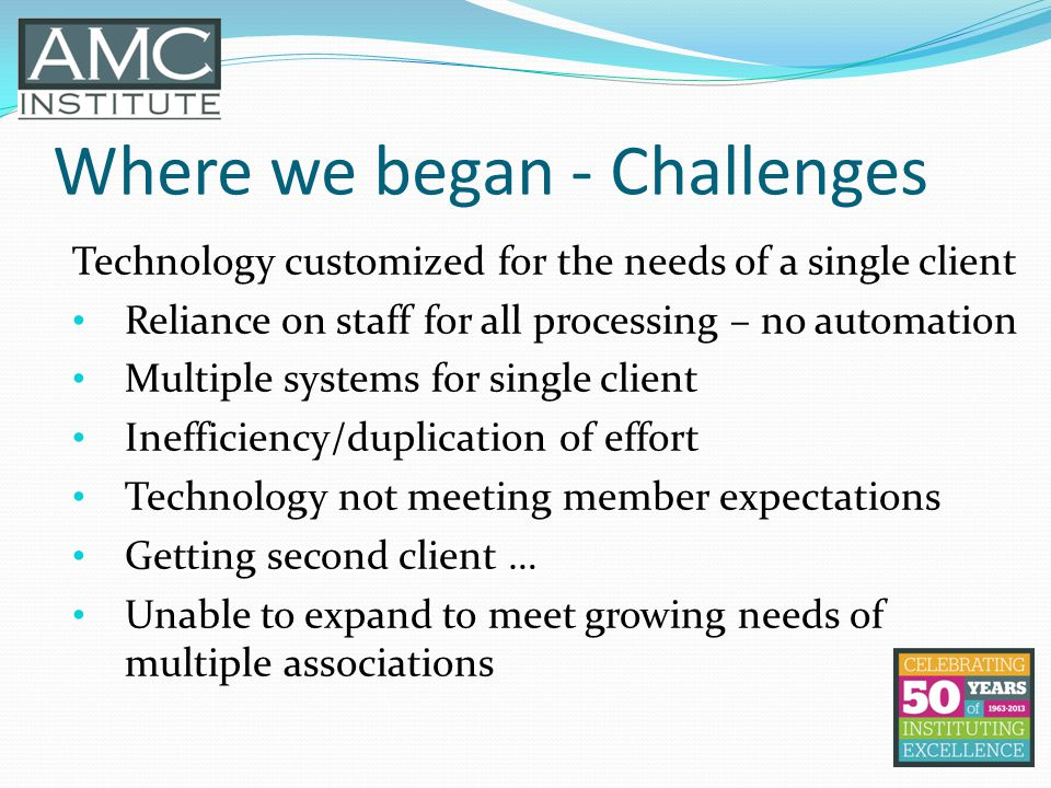 Where we began - Challenges Technology customized for the needs of a single client Reliance on staff for all processing – no automation Multiple systems for single client Inefficiency/duplication of effort Technology not meeting member expectations Getting second client … Unable to expand to meet growing needs of multiple associations