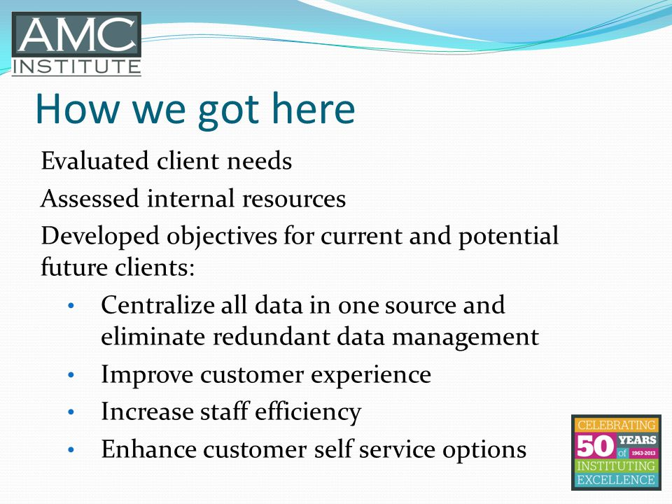 How we got here Evaluated client needs Assessed internal resources Developed objectives for current and potential future clients: Centralize all data in one source and eliminate redundant data management Improve customer experience Increase staff efficiency Enhance customer self service options