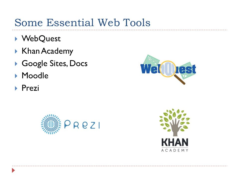 Some Essential Web Tools WebQuest Khan Academy Google Sites, Docs Moodle Prezi